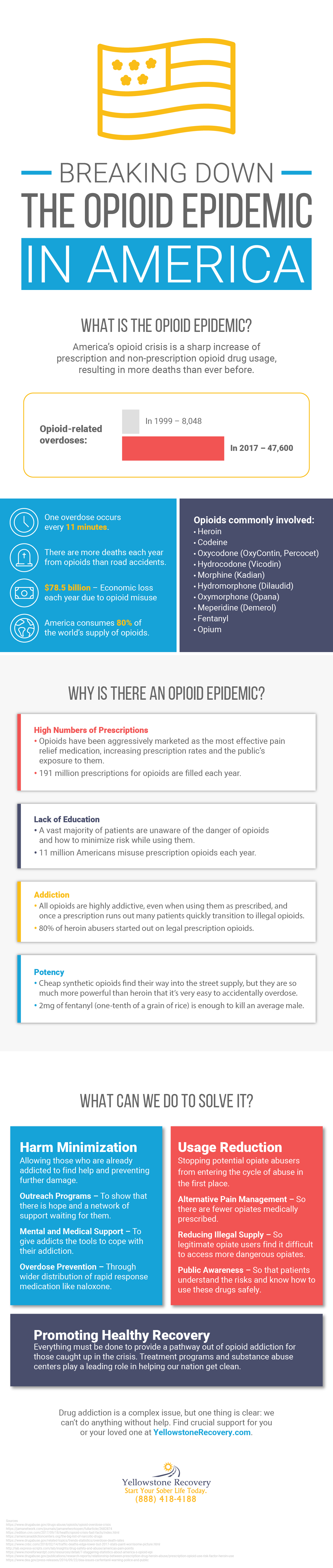 breaking down the opioid epidemic in the US infographic